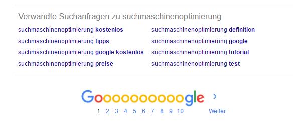 Verwandte Suchanfragen ist ein Feature von Google, dass ähnliche Suchbegriffe anzeigt die einen Hinweis bei der Suchmaschinenoptimierung geben können